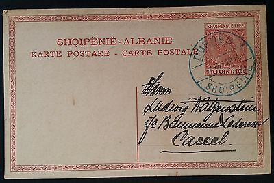 RARE 1914 Albania ‭Postcard ties 10Q red Skanderbeg stamp canc Durres