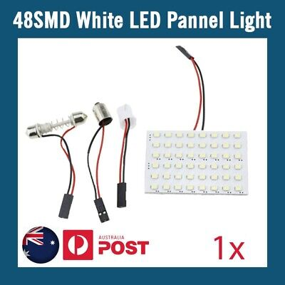 1 x 48 SMD LED LIGHT PANEL White Car Interior Bulb Lamp T10 BA9S Dome Adapter
