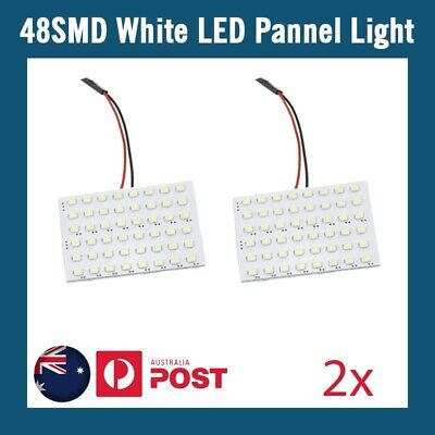 2 x 48 SMD LED LIGHT PANEL White Car Interior Bulb Lamp T10 BA9S Dome Adapter