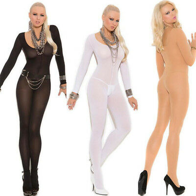 Hot Sexy Women pantyhose Full Body Stocking Open Crotch Lingerie Long Sleeve