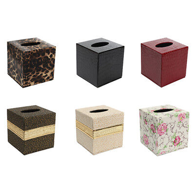 Durable Room Car PU Leather Square Tissue Box Holder Case Cover Napkin G6K4