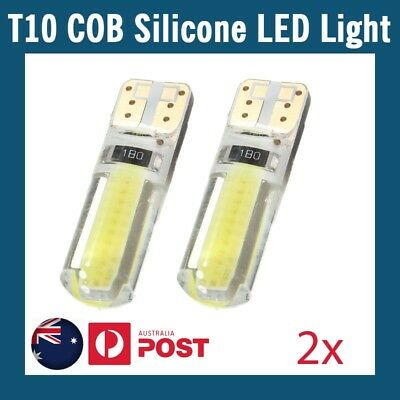 2 x T10 COB SHELL SILICONE WHITE LED SILICA GEL W5W CAR PARKER WEDGE LIGHT BULB