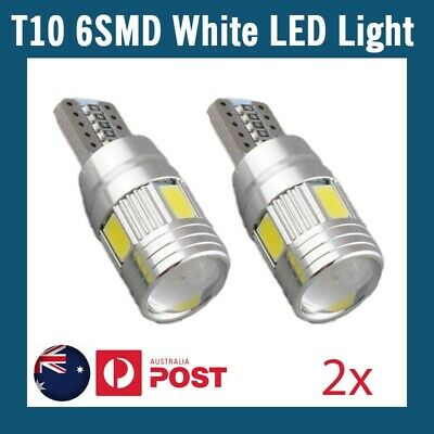 2x White T10 6SMD LED w5w Car Dash Tail Side Park Light super bright canbus 12V