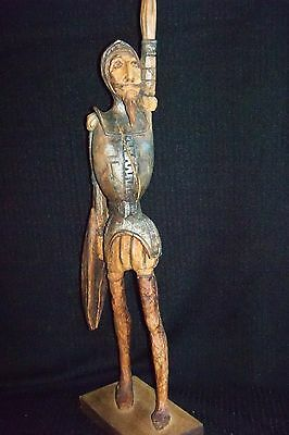 Vintage Hand Carved  Wooden 29''Tall Don Quixote Sculpture Figurine