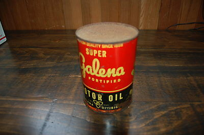 Rare Vintage Galena Super Fortified Full 1 Quart Motor Oil Can