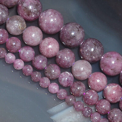 "Natural Lepidolite Gemstones Round Spacer Loose Beads 15"" 4mm 6mm 8mm 10mm"
