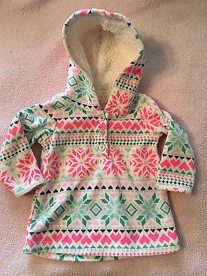 Carters Baby Girl Hoodie, Tights Outfit, Size 6 Months, Teal, Pink