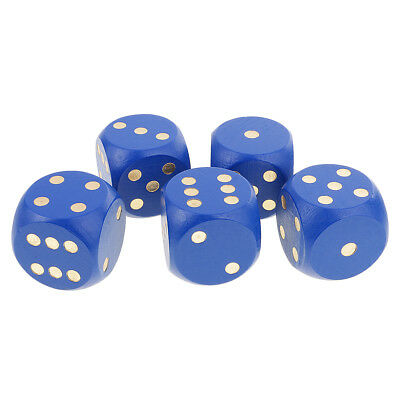 5pcs Six Sided Dices Digital Spot Dices 5cm for RPG Playing Game Dice Blue