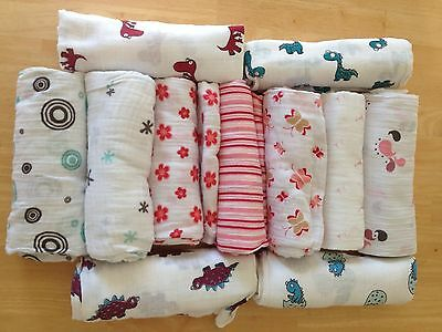 "NEW ADEN and ANAIS Muslin Cotton Boutique Swaddle Blanket 47""x 47""  You Pick"