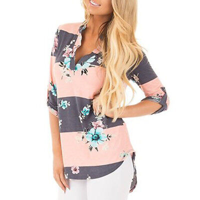 Women Summer Floral Print Long Sleeve Shirt Casual Loose Blouse Ladies Top New S