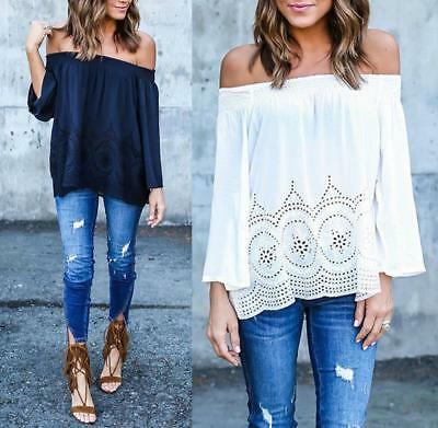Fashion Womens Off-shoulder Long Sleeve Casual Blouse Loose Cotton Tops T-Shirt