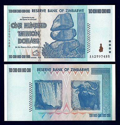 Zimbabwe 100 Trillion Dollars, AA 2008 P-91 UNC, 100 Trillion Series very rare !