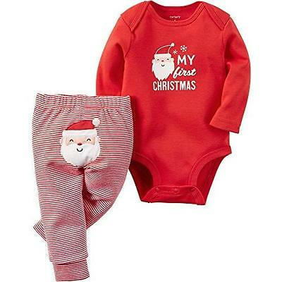 """Carter's Baby 2-Piece Bodysuit and Pant Set, """"My First Christmas"""", Red, 12M New"""