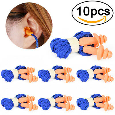 10Pcs Soft Silicone Corded Ear Plugs Reusable Hearing Protection Earplugs FR