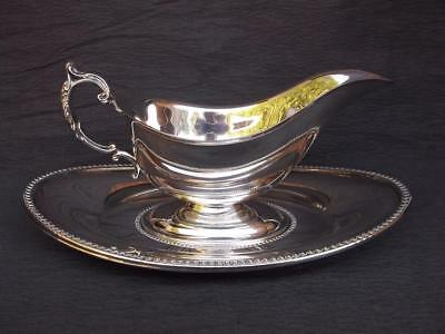 Vintage Silver Plate Sauce Boat / Gravy Boat And Fitted Base