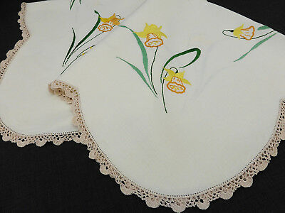 Vintage Linen Tablecloth-Hand Embroidered Golden Daffodils-Crochet Edge