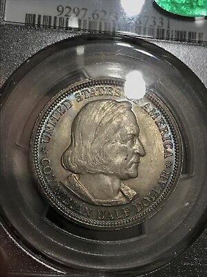 1893 Columbian Exposition Half Dollar PCGS MS62 CAC: Colorful Toning Both Sides!