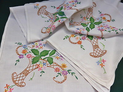 Vintage Linen Tablecloth-Hand Embroidered Beautiful Flower baskets