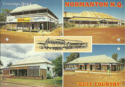 Postcard - Gulf Country, Normanton, Pubs, Hotels, Queensland, Australia