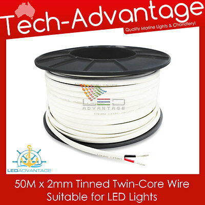 50m X 2mm 7A MARINE TINNED TWIN CORE LED LIGHTS ELECTRICAL CABLE - BOAT/CARAVAN