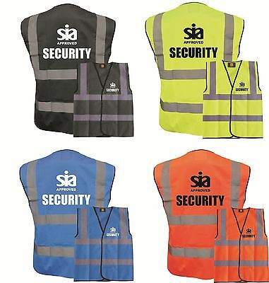 Security Sia Approved Hi Vis Viz Vests, Workwear, 4 Colours, Staff, All Sizes