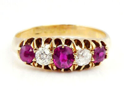 Beautiful Antique 18ct Gold Ruby and Diamond Ring (M) 3.2g