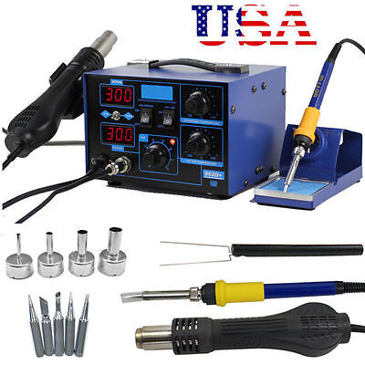 2 in 1 Soldering Iron Rework Stations SMD Hot Air Gun Desoldering Welder 862D EW