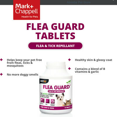 VETIQ FLEA GUARD TABLETS FOR CAT & DOG x 90 Totally Natural Repel fleas & ticks