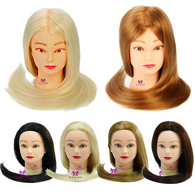 """28"""" 100% Real Hair Practice Training Head Mannequin Hairdressing Doll With Clamp"""
