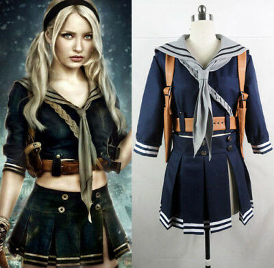 New Sucker Punch Baby Doll Costume Emily Cosplay Party Uniform Sailor Skirt