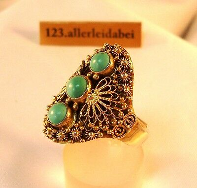 alter Türkis Ring Silber old China silver old turquoise ring / BA 882