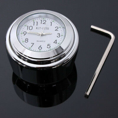 "7/8"" Or 1"" Motorcycle Motorbike CHOPPER HARLEY Handlebar Bar Mount Clock Chrome"