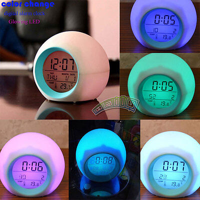 7 LED Color Change Digital Glowing Alarm Timer Thermometer Clock W/ Nature Sound