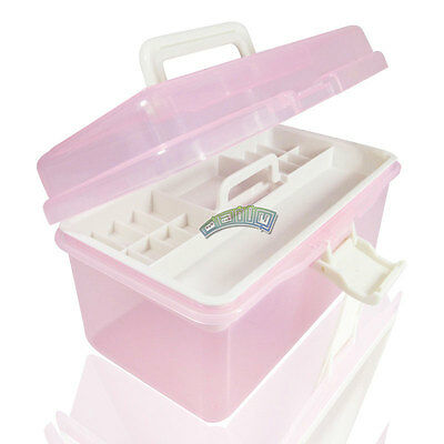 Multi Storage Case Empty Plastic 2 Layers Nail Art Craft Makeup Collection Box