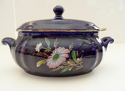 Moutardier Saucier Porcelaine Limoges Made In France Bleu De Four Veritable