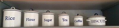 Set of 6 Enamel reproduction kitchen canisters - unused