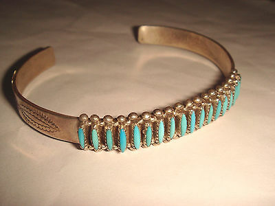 Vtg. Old Pawn Zuni Sterling Silver & Turquoise Needlepoint Cuff Bracelet E Acque