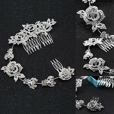 Bridal Wedding Hair Comb Crystal Diamante Rose Pearl Rhinestone Hair Comb Clip