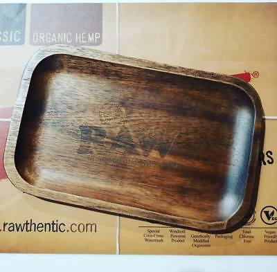 RAW WOODEN ROLLING TRAY 2017 DESIGN 27cm x 17cm - UNIQUE PATTERN - NATURAL WOOD