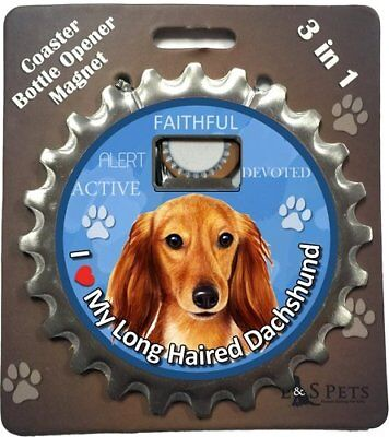 E&S Pets Dachshund Long Haired Bottle Opener, Coaster and Magnet