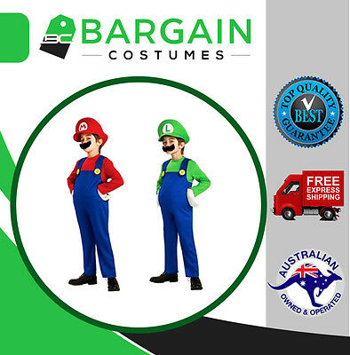 Kids Super Mario Brothers Luigi Fancy Dress Boys Girls Halloween Party Costume