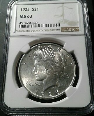 1925 Peace silver dollar- NGC  MS 63