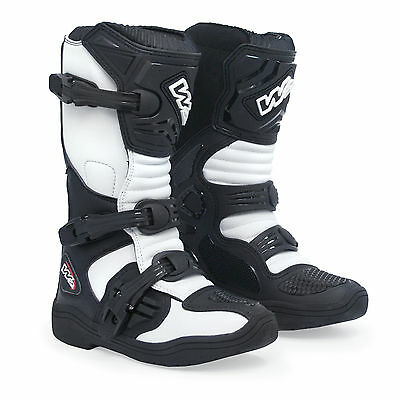 f4d8b48667a7 New W2 Mx Kids Junior Motocross Mx Off Road Enduro Atv Quad Boots Black  White