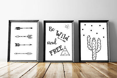 Set of 3 Be Wild And Free Arrows Black & White Quote Art Prints Gallery Wall A4
