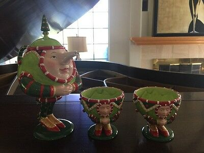 Patience Brewster Christmas Krinkles Dept. 56 Tea Set Tea Pot 3 Pc. Mint In Box