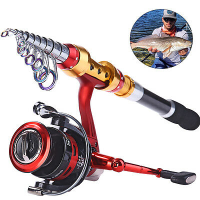 High Carbon Telescopic Fishing Rod Travel Fishing Pole with Reel Tackle Combos