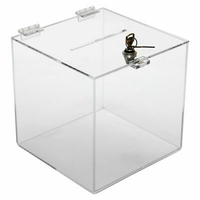 Collection Box Donation Box Charity Box with lock 250x250x250mm Acrylic