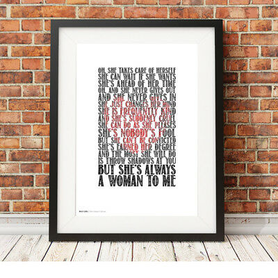BILLY JOEL ❤ Shes Always A Woman ❤ LOVE song lyric poster ART edition Print #10