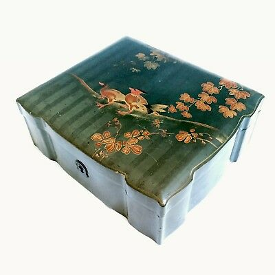 Beautiful Antique Japanese Lacquer Wood Box featuring Birds Signed
