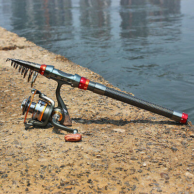 Saltwater Freshwater Travel Spinning Fishing Rod and Reel Combos Fish Pole Kits